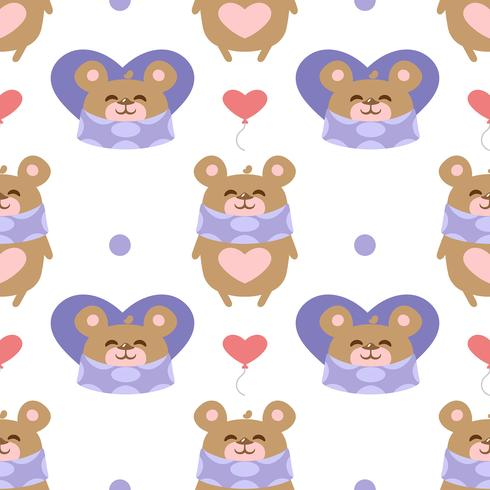 Patrón de corazones con oso de peluche
