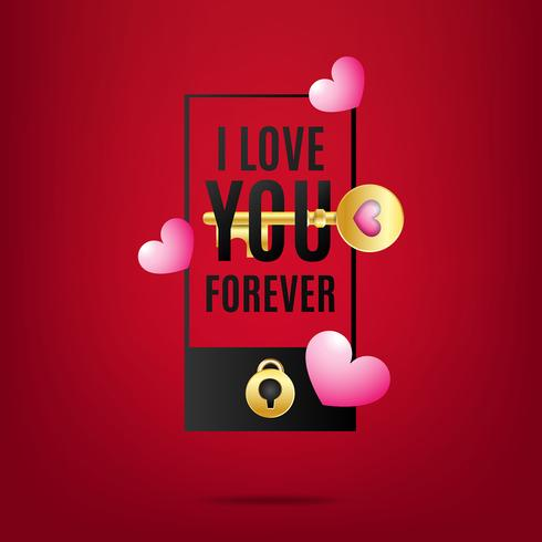 Valentine's background with heart and key