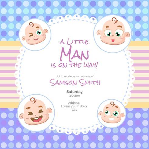 Baby shower card per ragazzo in stile cartoon