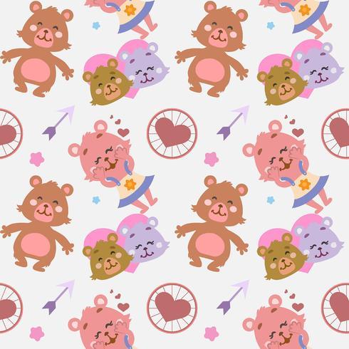 Patrón de corazones con pareja de osos
