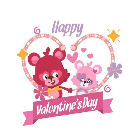 Couple teddy bears for valentines card