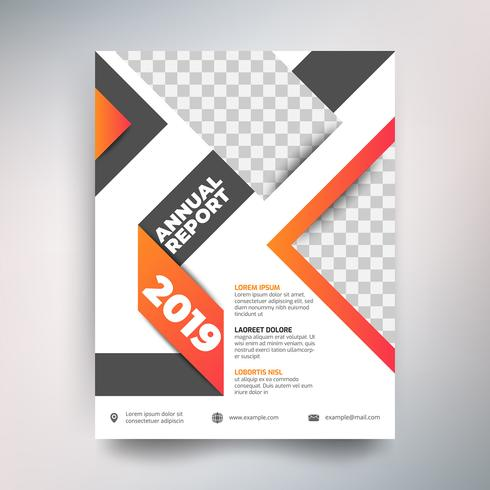 Annual report template, Modern design with black and orange tone
