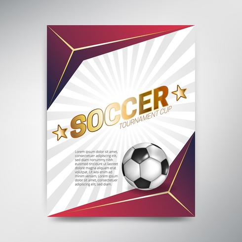 Poster di Coppa del torneo di calcio su sfondo rosso con palla