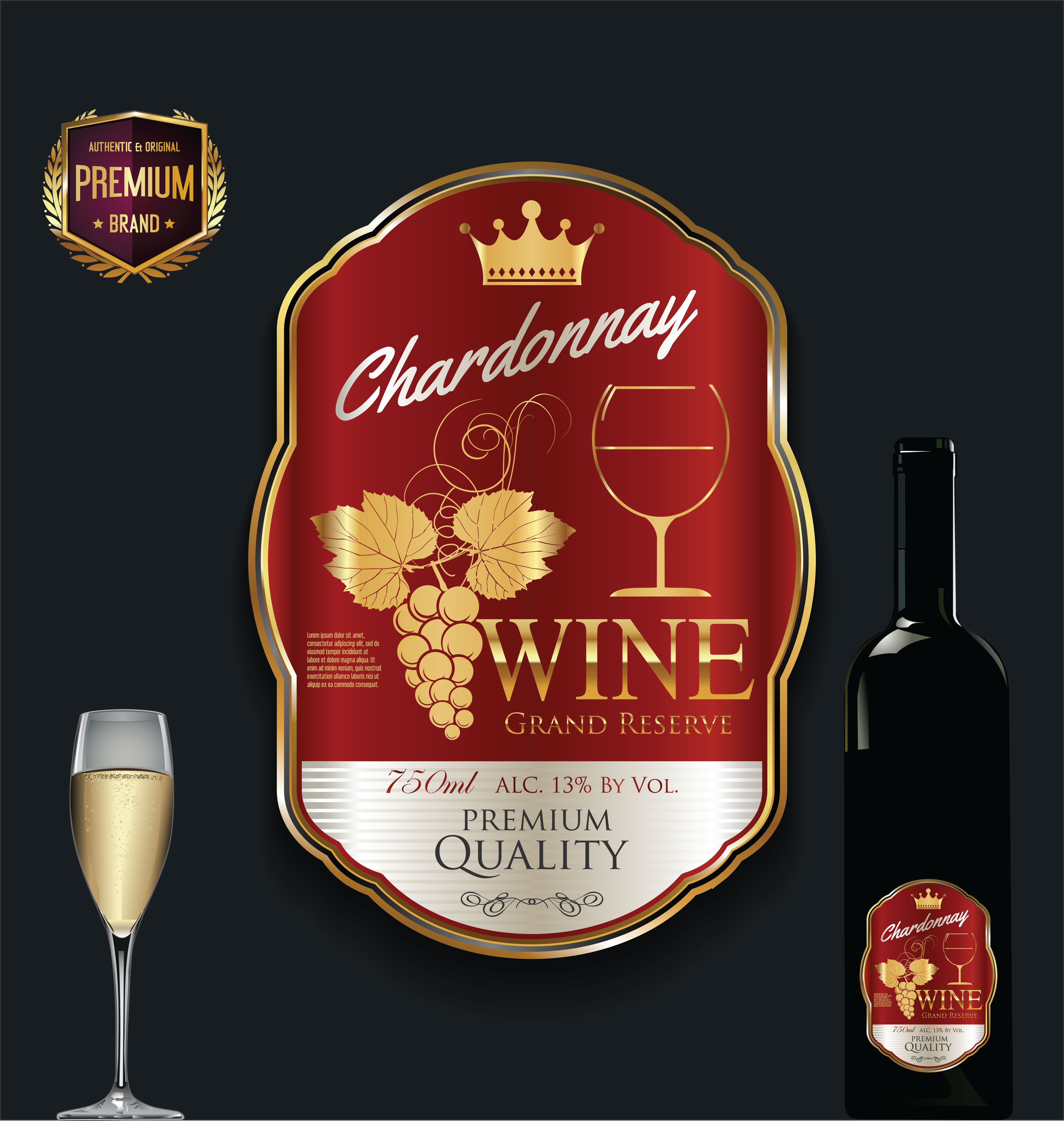 Luxury golden wine label vector illustration - Download ...