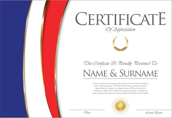 Certificado ou diploma design de bandeira de França vetor