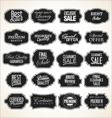 Colección de etiquetas y marcos retro vintage