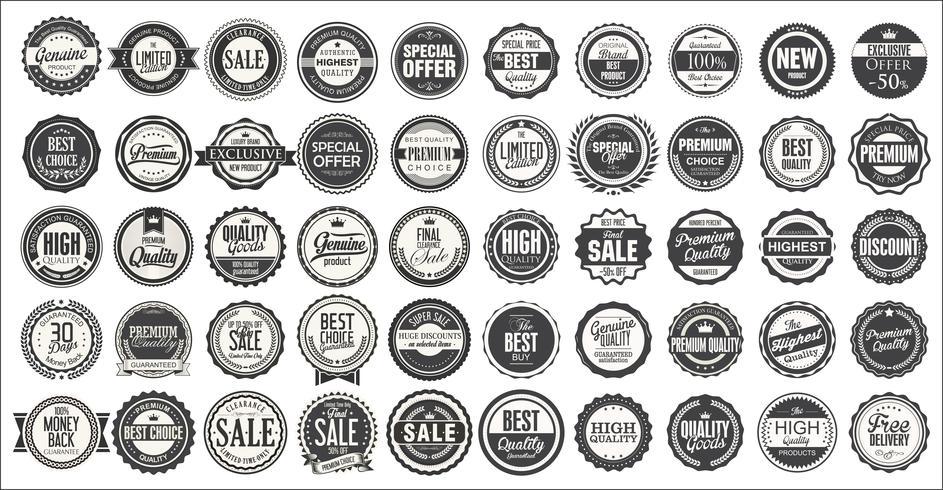 Retro Vintage Abzeichen und Etiketten-Sammlung vektor