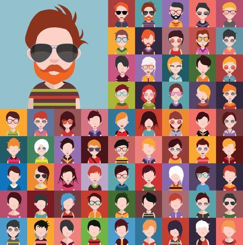 Set Leuteikonen, Avatare in der flachen Art mit Gesichtern