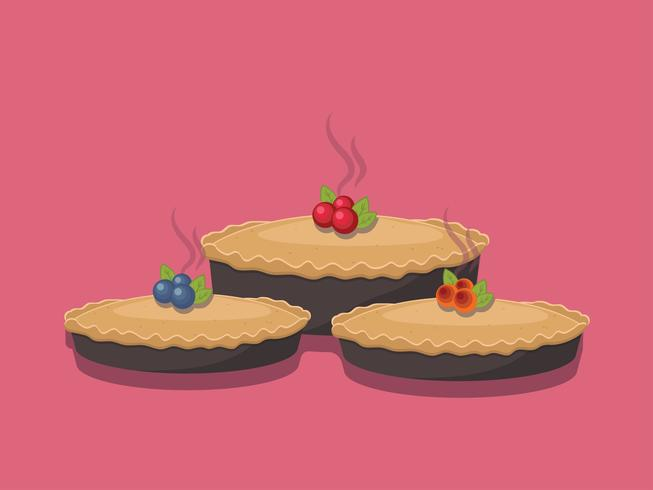 Pie isolated on pink background