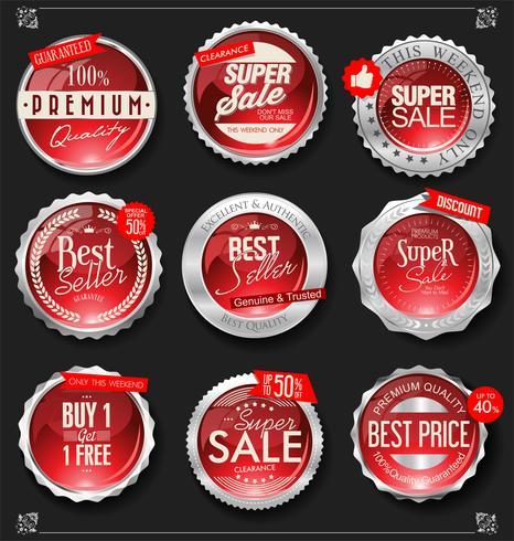 Collection d'illustration vectorielle insigne rétro argent et rouge