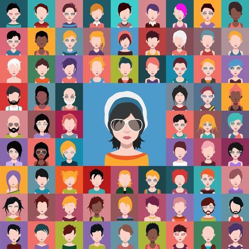 Set van mensen pictogrammen, avatars in vlakke stijl met gezichten.