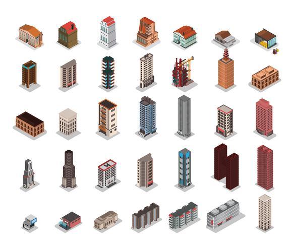 Isometrische gebouwen van de stad instellen