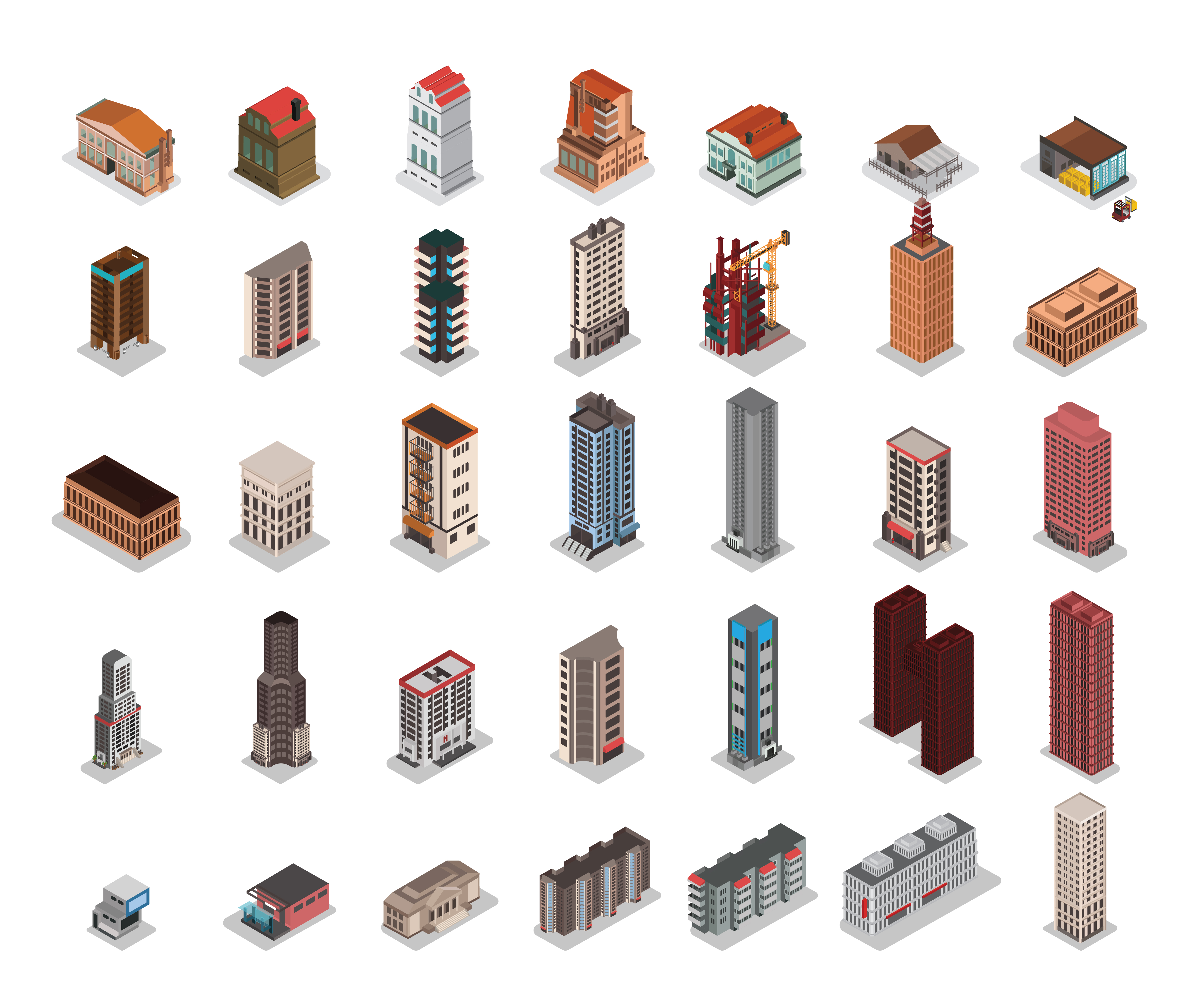 Isometric city buildings set download free vector art for Home design 3d professional italiano gratis