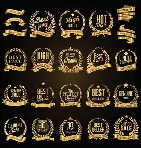 Coroa de louros dourada com fitas douradas vector coleção ilustração