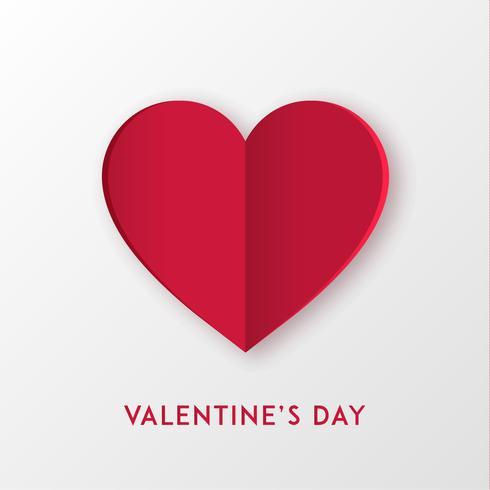 Paper cut kärlek hjärta för Alla hjärtans dag eller något annat kärlek inbjudningskort. Vektor