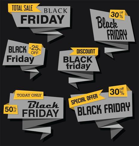 Modernas pegatinas de venta de origami y etiquetas de colección viernes negro. vector