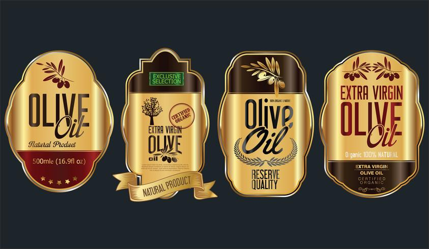 Retro vintage golden olive oil background collection
