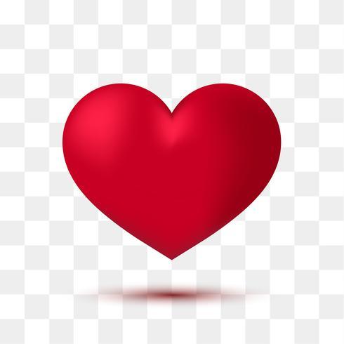 Doux coeur rouge avec fond transparent. Illustration vectorielle