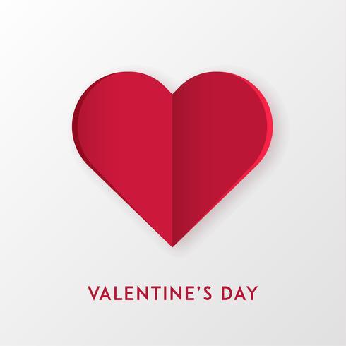 Papel cortado corazón de amor para el día de San Valentín o cualquier otra tarjeta de invitación de amor. Vector