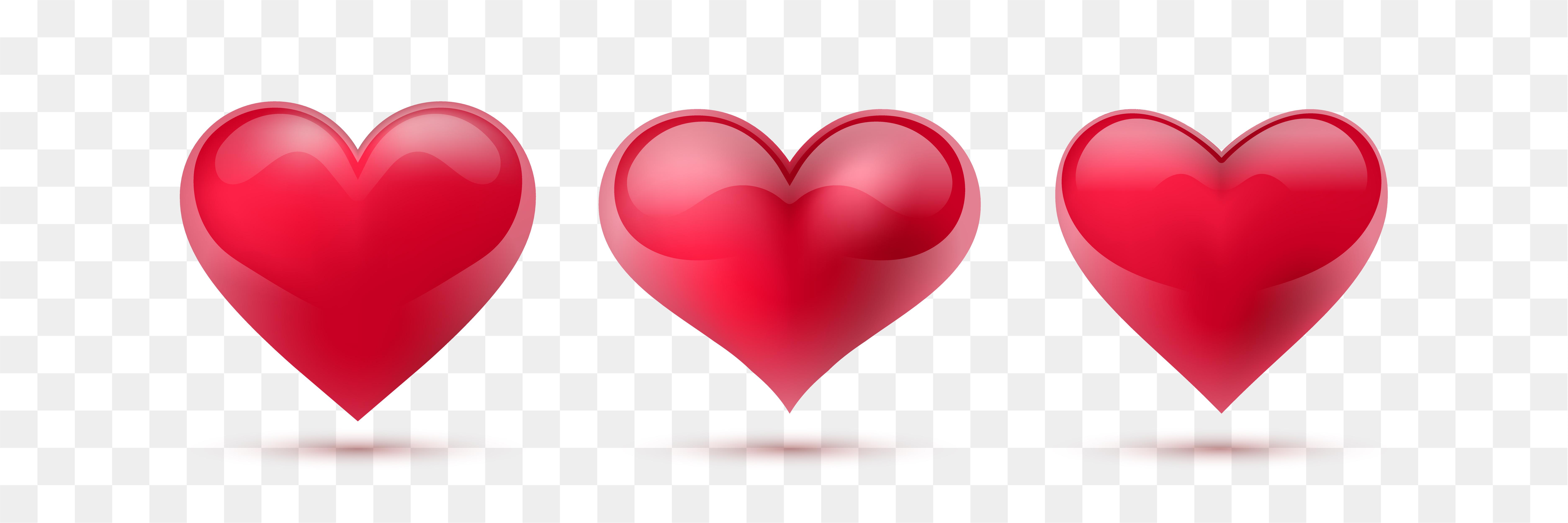 Set of vector hearts. Vector illustration. Realistic heart ...
