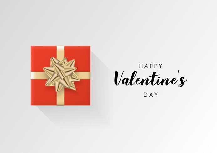 Valentinstag Vektor Hintergrund. Bunte eingewickelte Geschenkbox mit Band. Festliche vektorabbildung.