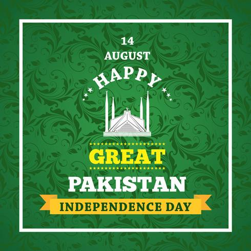 Happy Independence Day 14 August Pakistan Greeting Card vector