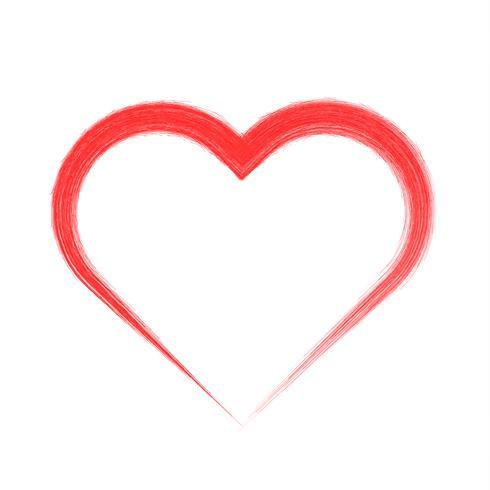 Pincel dibujo caligrafía corazón, aislado en blanco