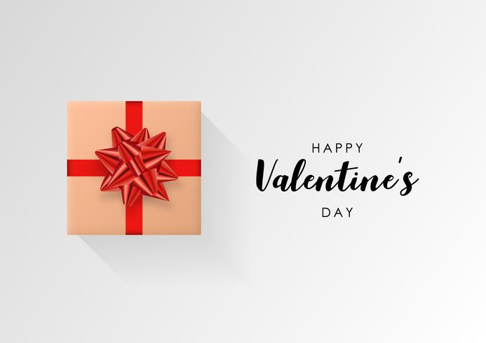 Valentines day vector background. Colorful wrapped gift box with ribbon. Festive vector illustration.