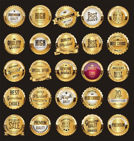 Luxury premium golden badges and labels vector