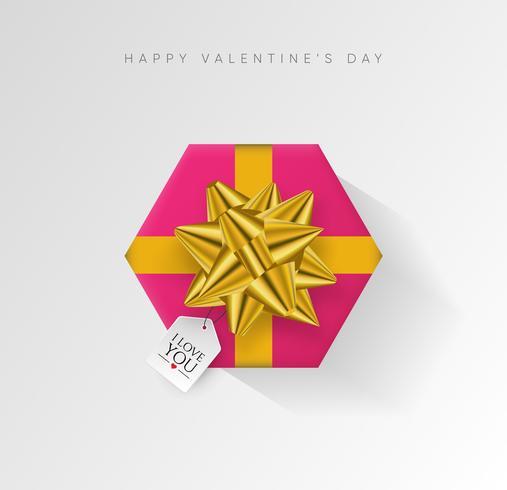 Valentinstag Vektor Hintergrund. Bunte eingewickelte Geschenkbox mit Band.