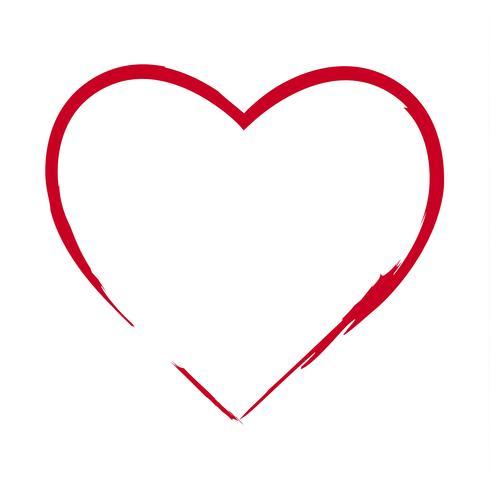 Borstel tekening kalligrafie hart, geïsoleerd op wit