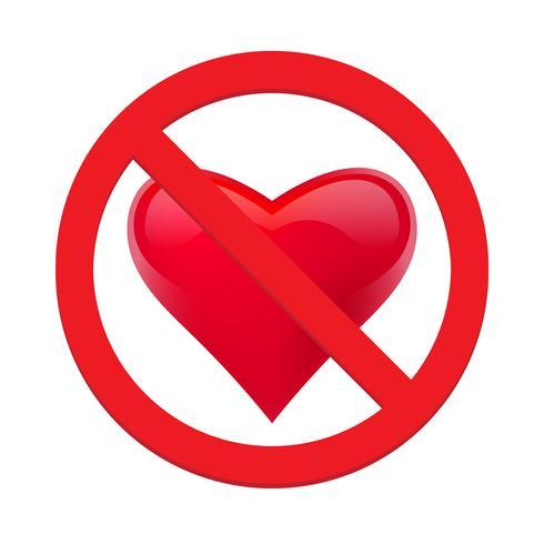 Divieto di amare il cuore. Simbolo di proibito e fermare l'amore. Illustrazione vettoriale - Vector