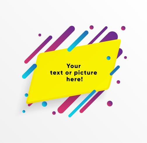 Gele abstracte tekstvakje vorm met trendy neon lijnen en cirkels. Vector achtergrond.