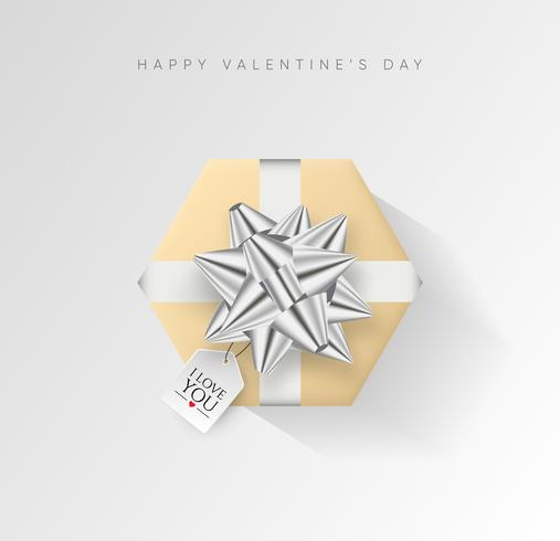 Valentines day vector background. Colorful wrapped gift box with ribbon