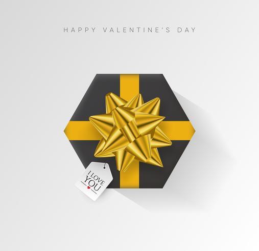 San Valentino sfondo vettoriale. Contenitore di regalo avvolto variopinto con il nastro