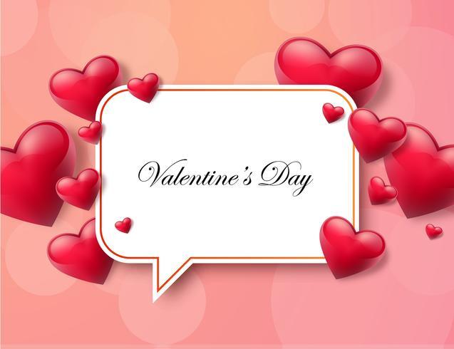 Fondo del día de tarjeta del día de San Valentín con el cuadro de texto y los corazones hermosos. Ilustración vectorial