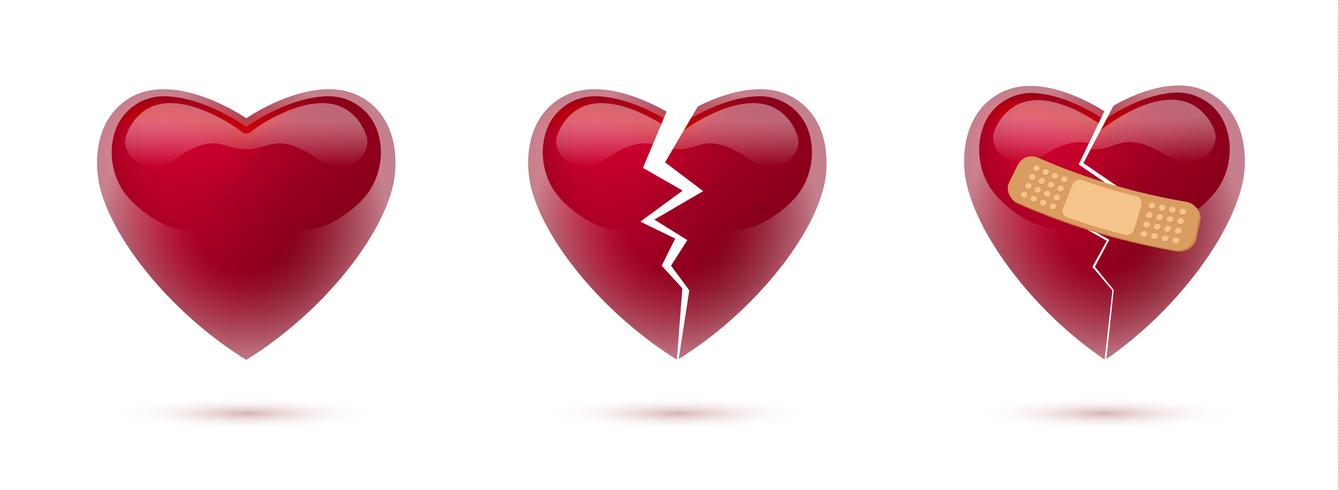 Conjunto de vetores de corações partidos de realistas ícones e símbolos. Isolado no fundo branco. Ilustração vetorial