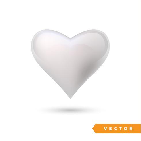 Coração de efeito prateado realista. Ilustração vetorial Coração realista, isolado. - vetor