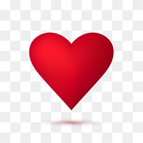 Suave corazón rojo con fondo transparente. Ilustración vectorial