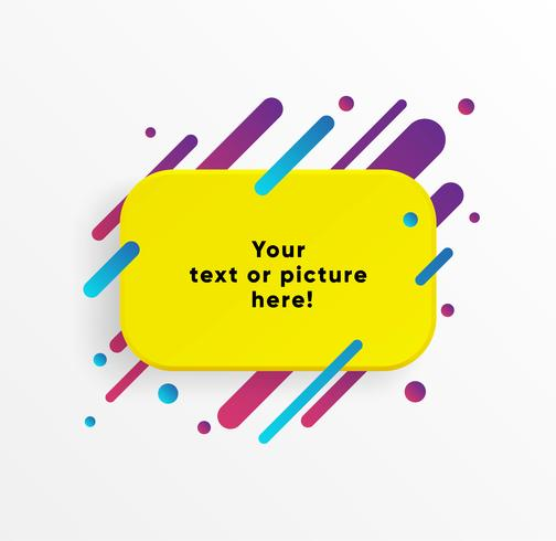 Gelbe abstrakte Textboxform mit modischen Neonlinien und Kreisen. Vektor Hintergrund