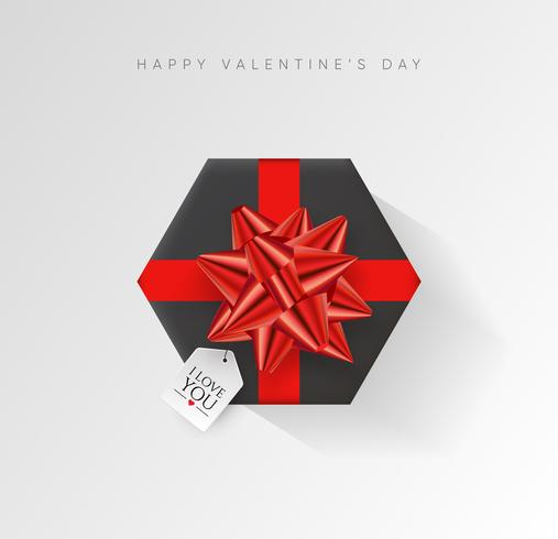 Fondo de vector de día de San Valentín. Caja de regalo envuelta colorida con cinta