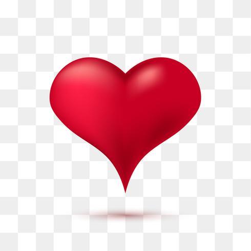 Zacht rood hart met transparante achtergrond. Vector illustratie