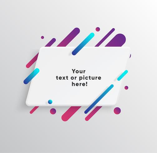 Fond de vecteur avec carte de papier et formes colorées abstraites.