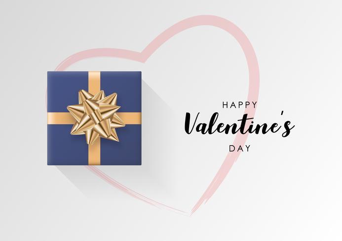 Valentinstag Vektor Hintergrund. Bunte eingewickelte Geschenkbox mit Band