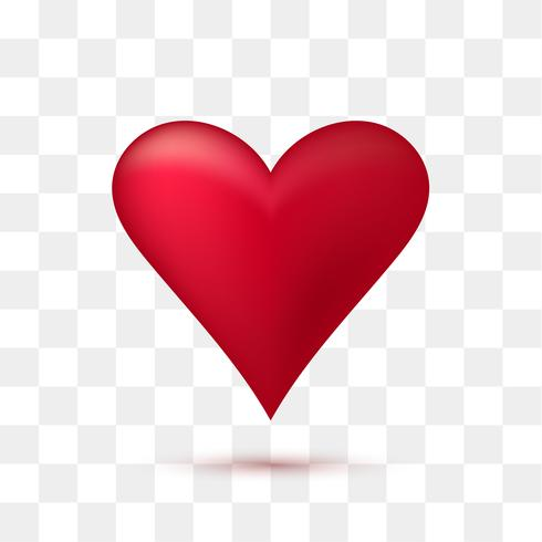 Morbido cuore rosso con sfondo trasparente. Illustrazione vettoriale