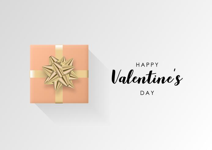 Valentijnsdag vector achtergrond. Kleurrijke verpakte geschenkdoos met lint. Feestelijke vectorillustratie.