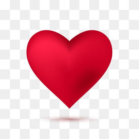 Coração vermelho macio com fundo transparente. Ilustração vetorial