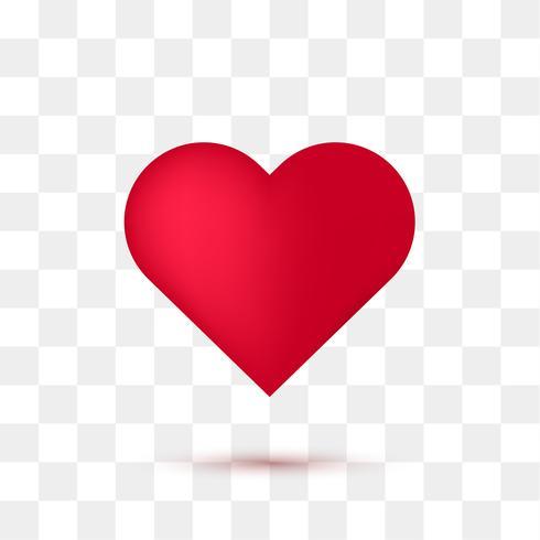 Weiches rotes Herz mit transparentem Hintergrund. Vektor-Illustration