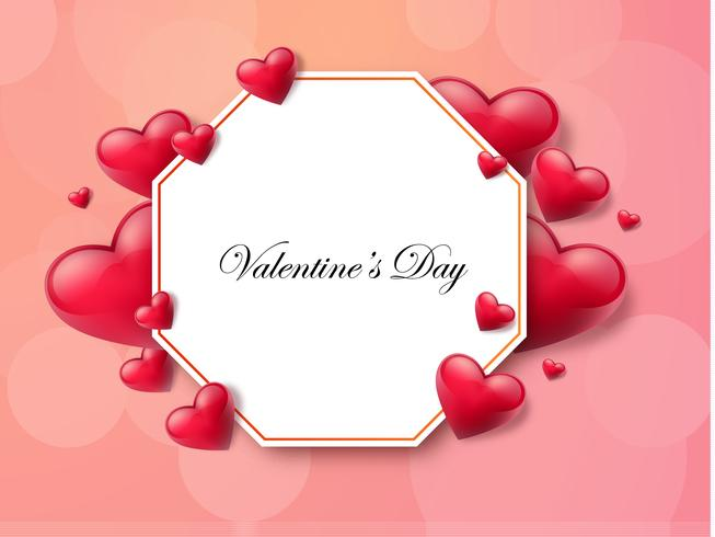 Alla hjärtans dag bakgrund med textlåda och vackra hjärtan. Vektor illustration
