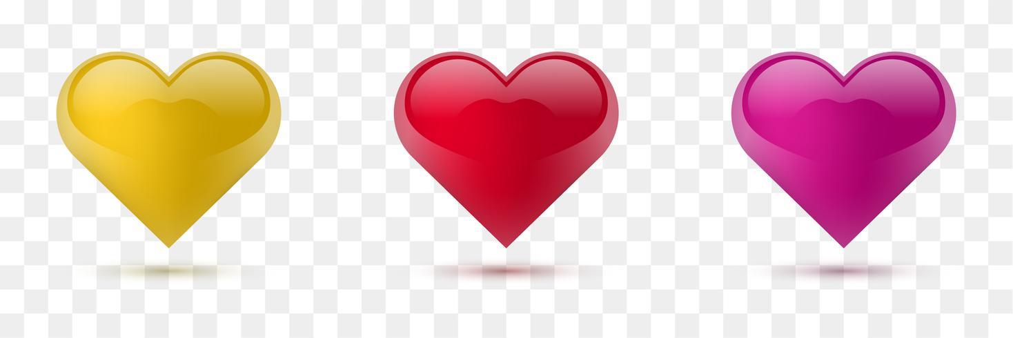 Set vektorherzen. Vektor-Illustration Realistisches Herz, isoliert. - Vektor